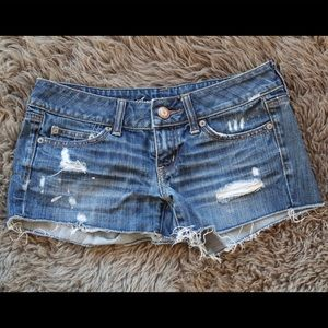 Distressed American Eagle jean shorts, size 2